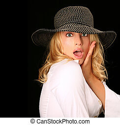 Surprised Glamourous Model
