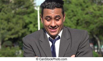 Surprised Grateful Hispanic Business Man