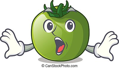 Surprised green tomato obove the character table