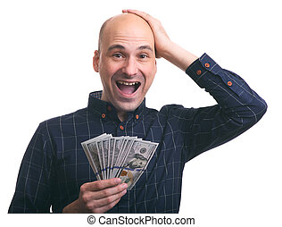 Surprised happy man holds a lot of money. Isolated