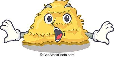 Surprised hay bale mascot cartoon vector illustration