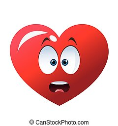 surprised heart cartoon icon