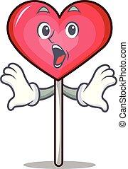 Surprised heart lollipop mascot cartoon
