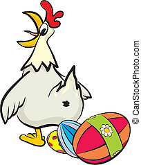 surprised hen and her Easter eggs