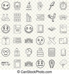 Surprised icons set, outline style