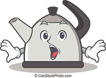 Surprised kettle character cartoon style vector illustration
