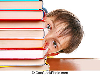 Surprised Kid behind the Books Isolated on the White...