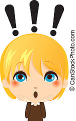 Portrait illustration of cute kid making a surprise gesture expression
