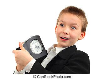 Kid with Alarm Clock