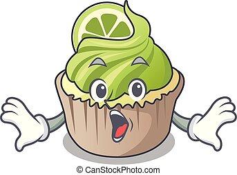 Surprised lemon cupcake mascot cartoon