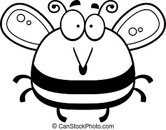 Surprised Little Bee - A cartoon illustration of a bee...