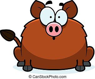 Surprised Little Boar - A cartoon illustration of a boar...