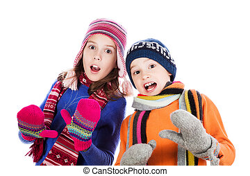 Surprised little boy and girl
