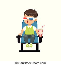 Surprised little boy in 3d glasses sitting on a blue chair...