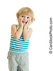 Surprised little boy with hands on cheeks over white background