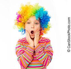 little girl in clown wig - surprised little girl in clown...