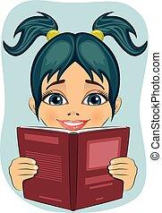 surprised little girl reading interesting book