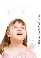 Surprised Little Girl - surprised little girl looking up,...