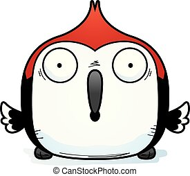 Surprised Little Woodpecker - A cartoon illustration of a...
