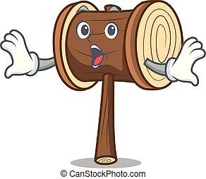 Surprised mallet mascot cartoon style