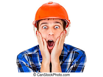 Surprised Man in Hard Hat