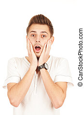 surprised man on a white background