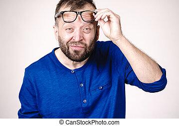 Surprised man wearing eyeglasses
