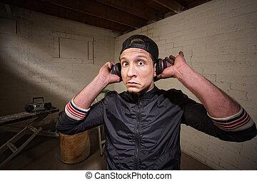 Surprised Man with Earphones