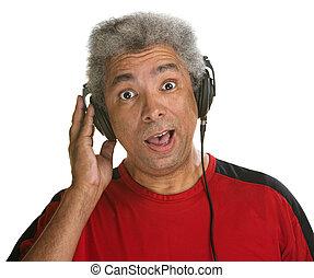 Surprised Man with Headphones
