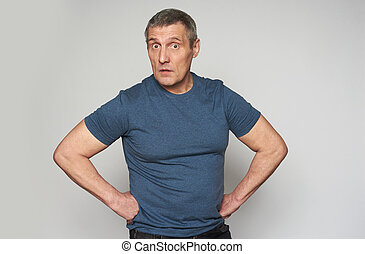 Surprised middle aged man looking at camera. Isolated