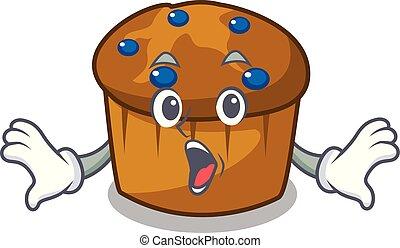 Surprised mufin blueberry mascot cartoon
