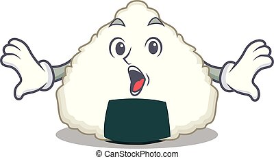 Surprised Onigiri mascot cartoon style