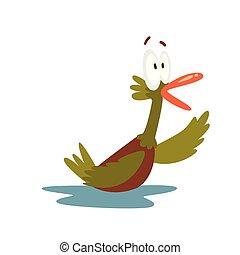 Surprised Open Eyed Male Mallard Duck Swiiming, Funny Bird Cartoon Character Vector Illustration