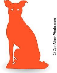 Surprised orange dog, silhouette on white background.