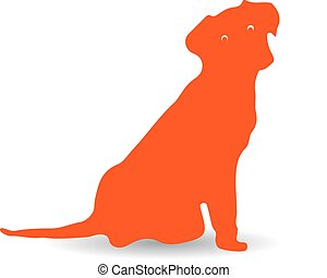 Surprised orange dog, silhouette on white background.