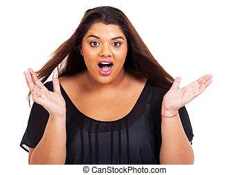 surprised overweight teen girl