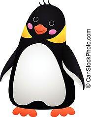 Surprised penguin icon, cartoon style