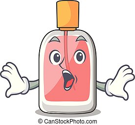 Surprised perfume bottle on the character table vector...