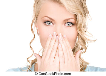 surprised - bright picture of surprised woman face over...