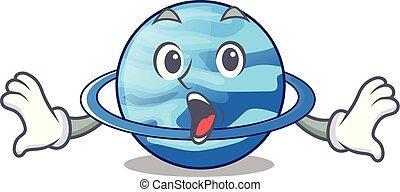 Surprised planet uranus in the cartoon form vector...