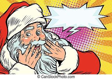 Surprised reaction. Santa Claus Christmas character
