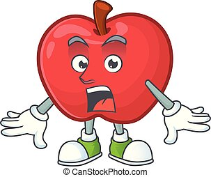 Surprised red apple funny character for vegetarian cartoon