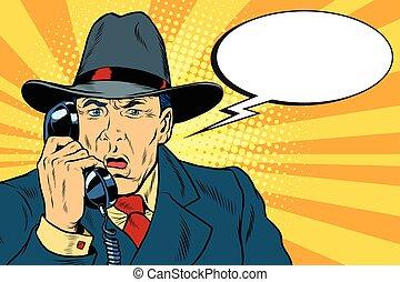 Surprised retro businessman talking on the phone. Pop art...