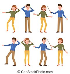 Surprised, sad, shocked, upset blue shirt male and green top female vector illustration. Scared, unhappy, depressed, amazed young man and woman cartoon character set