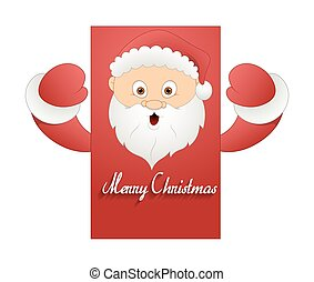 Surprised Santa Christmas Banner - Cartoon Surprised Santa...