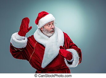 Surprised Santa Claus - Wondering Santa Claus in profile...