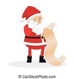 Surprised Santa Claus with wish list