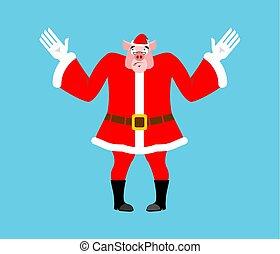 Surprised Santa Pig. Perplexed piggy in red suit. Struck...