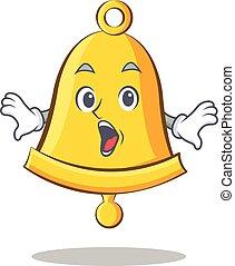 Surprised school bell character cartoon