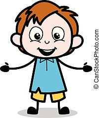 Surprised - School Boy Cartoon Character Vector Illustration
